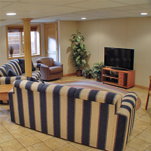 A Finished Basement Living Room Area in Mercer, MI and WI