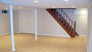 A complete finished basement system in a Phillips home