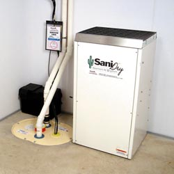 An ENERGY STAR® Rated basement dehumidifier installed in a home in Houghton