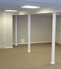 Smartpost column wrap on a basement in Iron Mountain