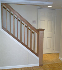Renovated basement staircase in Eagle River