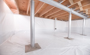 Crawl space structural support jacks installed in Mercer