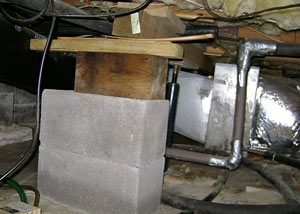 a poorly designed crawl space support system installed in a L'Anse home