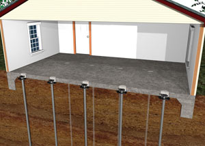 An illustration of slab piers supporting a concrete slab floor.