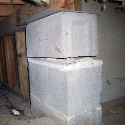 Collapsing crawl space support pillars Bayfield