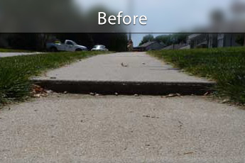 Repairing settled concrete slab in Ashland, MI and WI