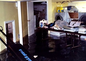 A laundry room flood in Crystal Falls, with several feet of water flooded in.