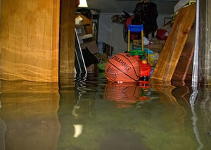 A flooded basement bedroom in Mercer