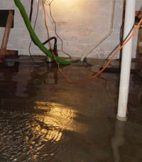 Several feet of floodwaters in a Atlantic Mine basement