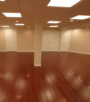 Rosewood faux wood basement flooring for finished basements in Ashland