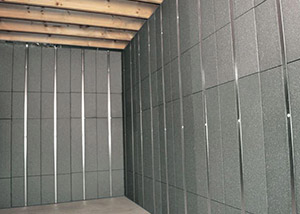 SilverGlo™ insulation and metal studs making up our Basement to Beautiful panels.  Installed in Iron Mountain.